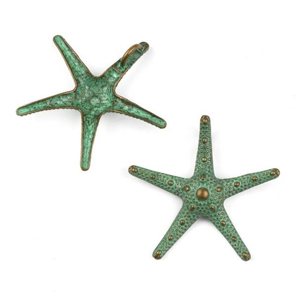 Green Bronze Colored Pewter 35x37mm Large Starfish Charm - 10 per bag