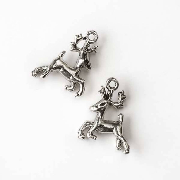 Silver Pewter 17x20mm Reindeer Charm - 10 per bag