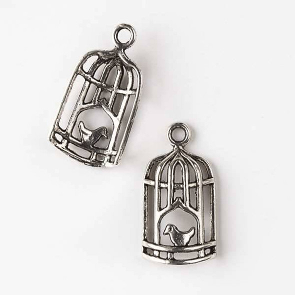 Silver Pewter 14x26mm Bird in a Cage Charm - 10 per bag