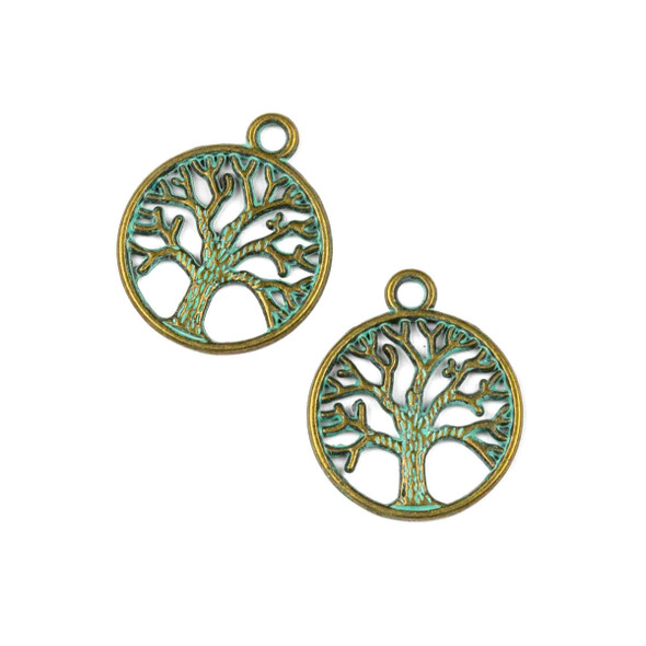 Green Bronze Colored Pewter 20x24mm Tree of Life Charm - 10 per bag