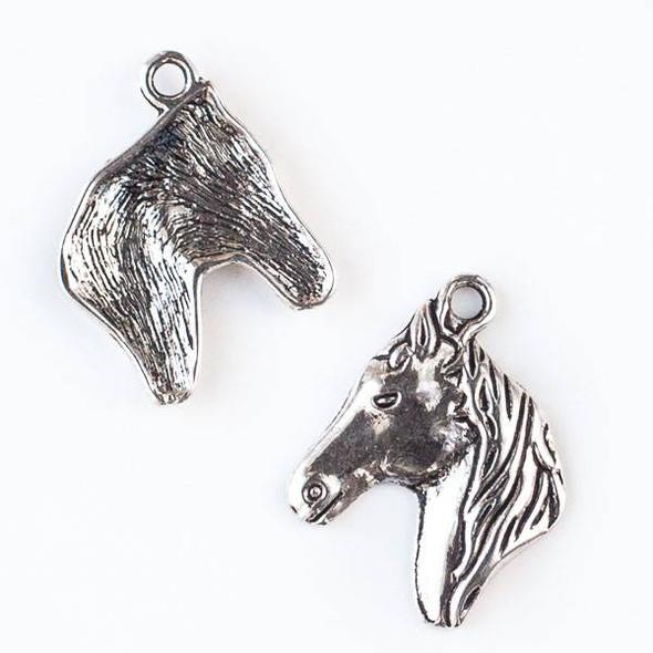 Silver Pewter 22x28mm Horse Head Pendant - 10 per bag