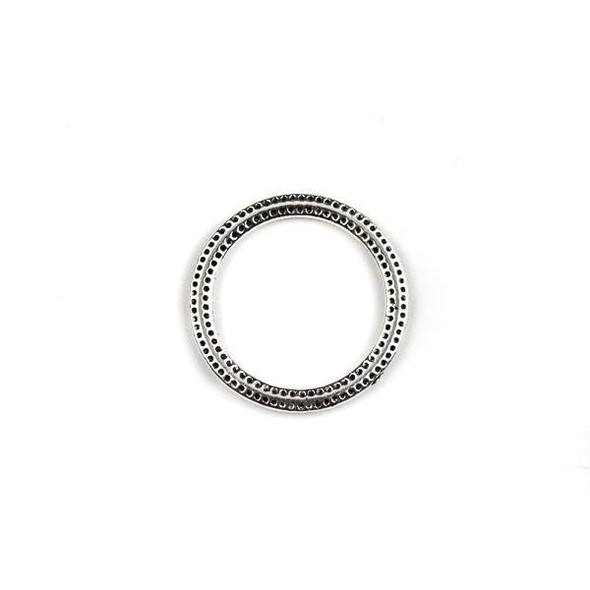 Silver Pewter 26mm Dotted Hoops - 2 per bag