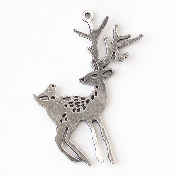 Silver Pewter 46x60mm Deer and Bird Friends Pendant - 1 per bag