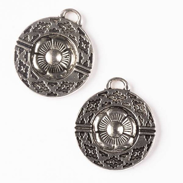 Silver Pewter 25x28mm Double Sided Flower Coin Pendant with Tribal Print - 5 per bag