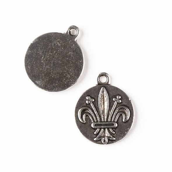 Silver Pewter 20x23mm Fleur De Lis Coin Charm - 8 per bag