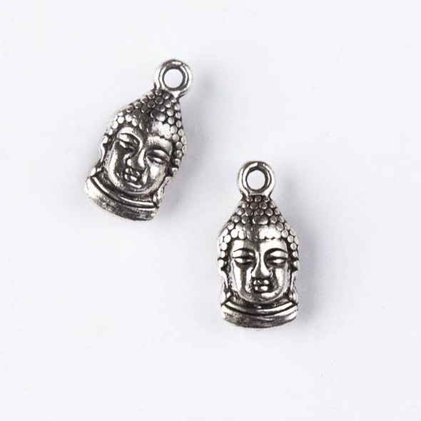 Silver Pewter 8x16mm Buddha Head Charm - 10 per bag