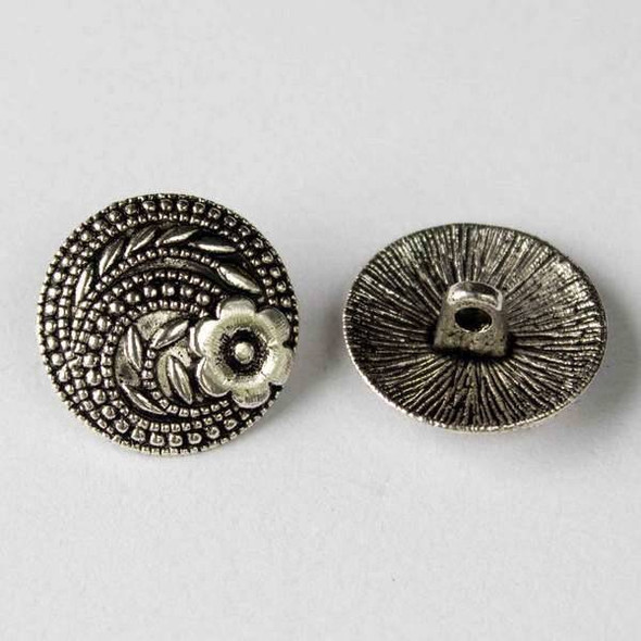Silver Pewter 17mm Round Button with a Flower and Swirl Design - 10 per bag