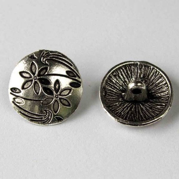 Silver Pewter 17mm Round Button with Stemmed Flowers and Leaves - 10 per bag