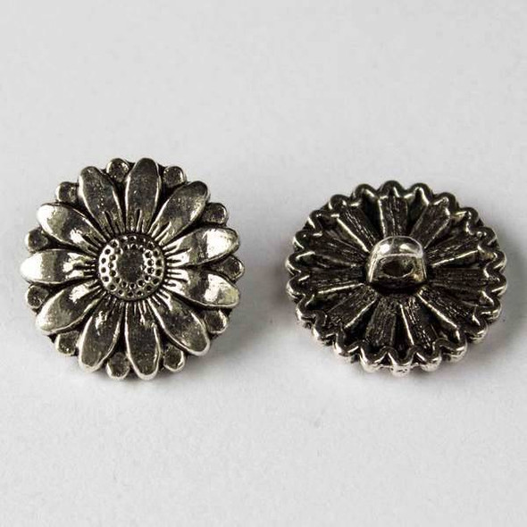 Silver Pewter 17mm Round Daisy Flower Button - 10 per bag