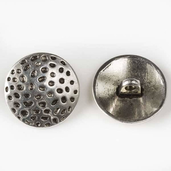 Silver Pewter 19mm Dotted Round Button - 6 per bag