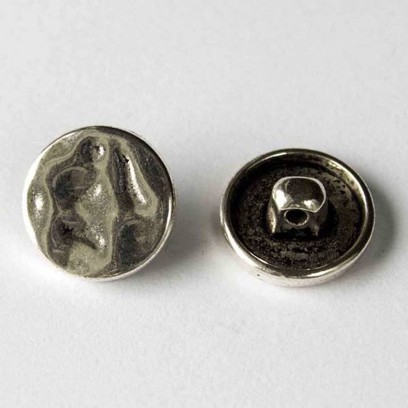 Silver Pewter 16mm Round Hammered Button - 10 per bag