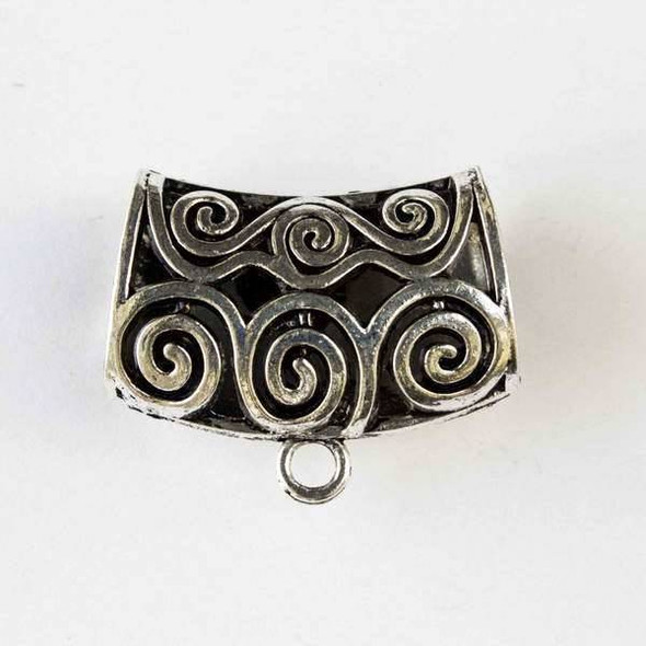 Silver Pewter 32x43mm Scarf Bail or Center Piece Pendant Drop with Swirls and a 13x21mm Large Hole - 1 per bag