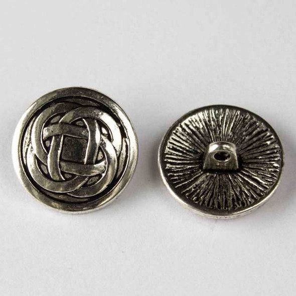Silver Pewter 17mm Round Button with a Classic Celtic Knot - 10 per bag