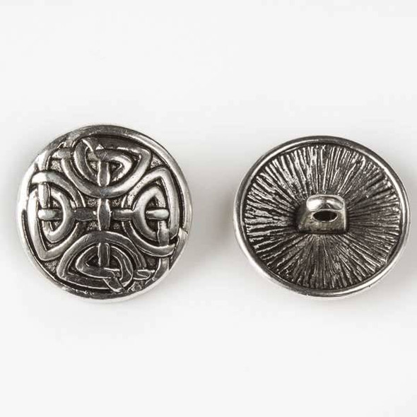 Silver Pewter 17mm Round Button with a Complex Celtic Design - 6 per bag
