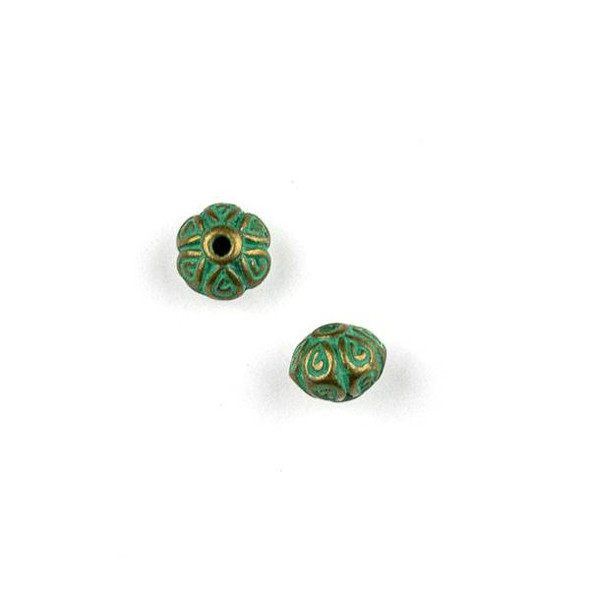 Green Bronze Colored Pewter 5x7mm Bumpy Bali Style Round Beads - 6 per bag