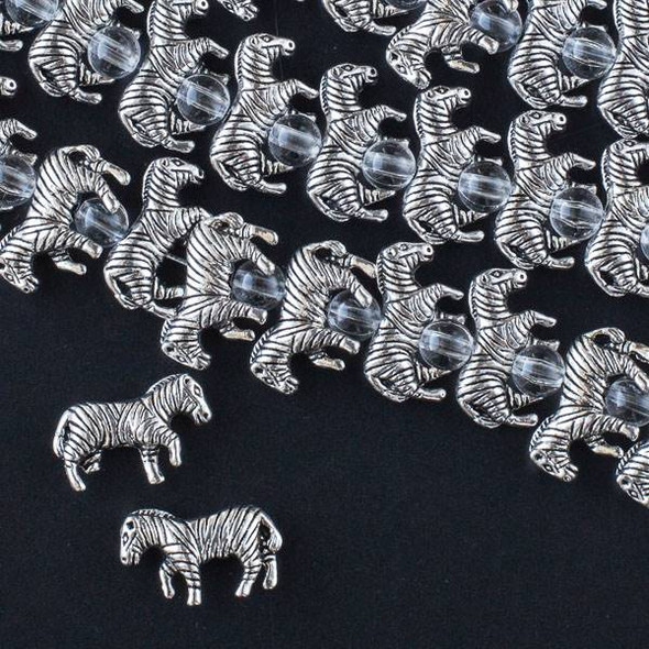 Silver Pewter 10x18mm Zebra Beads - approx. 8 inch strand - CTB16426s