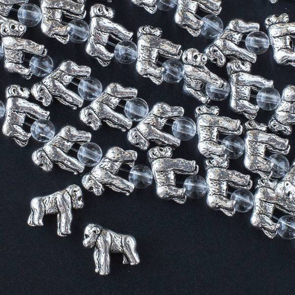 Silver Pewter 12x14mm Gorilla Beads - approx. 8 inch strand - CTB16430s