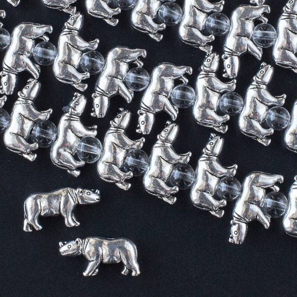 Silver Pewter 10x19mm Rhinoceros Beads - approx. 8 inch strand - CTB16431s