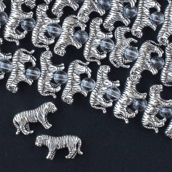 Silver Pewter 11x19mm Tiger Beads - approx. 8 inch strand - CTB16433s