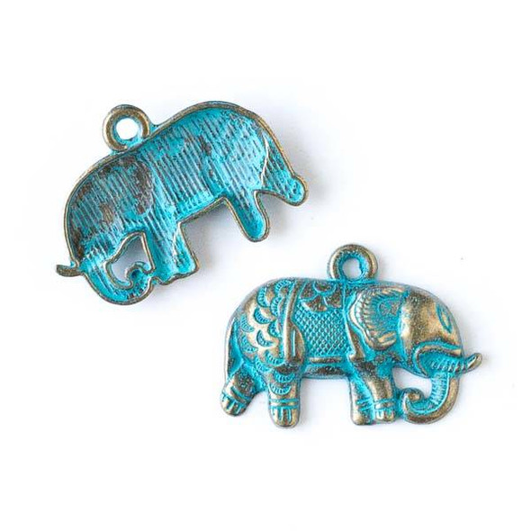 Green Bronze Colored Pewter 21x27mm Indian Elephant Charm - 10 per bag
