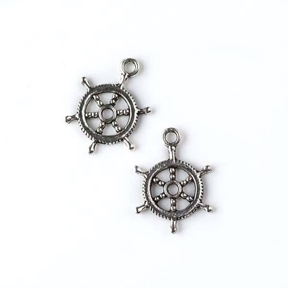 Silver Pewter 14x19mm Small Ship's Steering Wheel Charm - 10 per bag