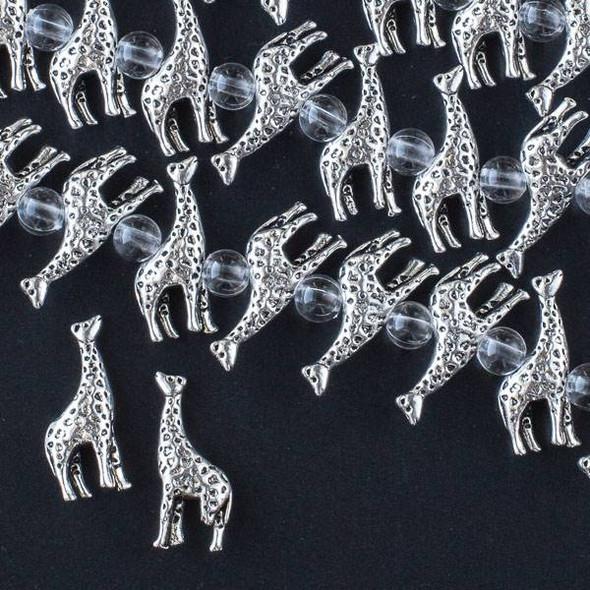 Silver Pewter 8x22mm Giraffe Beads - approx. 8 inch strand - CTB16708s