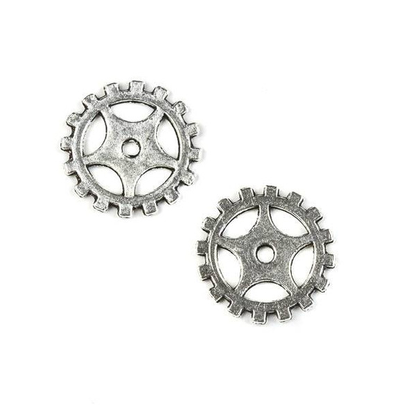 Silver Pewter 18mm Gear Charm (no loop) - 10 per bag