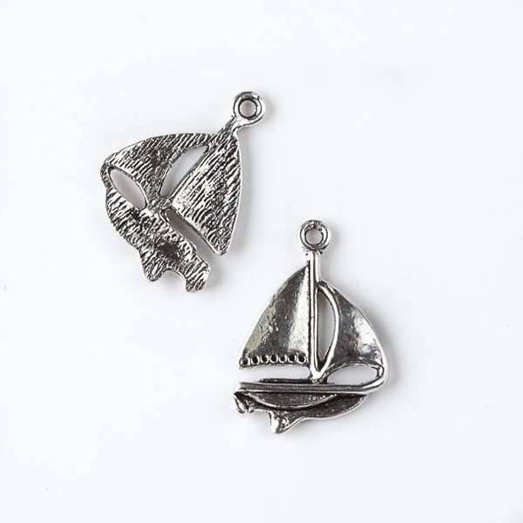 Silver Pewter 16x23mm Sailboat Charm - 10 per bag