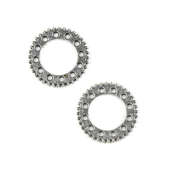 Silver Pewter 20mm Gear Charm (no loop) - 10 per bag