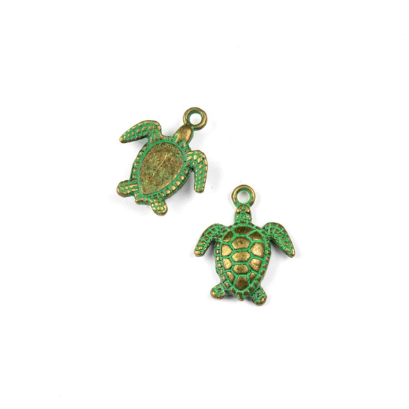 Green Bronze Colored Pewter 15x17mm Sea Turtle Charm - 10 per bag