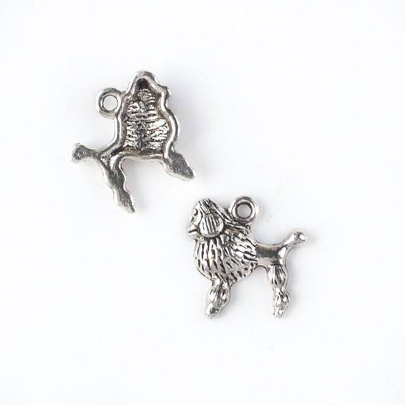 Silver Pewter 14mm Standard Poodle Dog Charm - 10 per bag