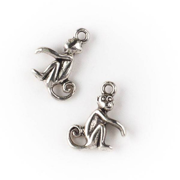 Silver Pewter 13x15mm Monkey Charm - 10 per bag