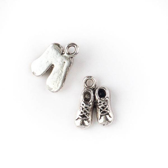 Silver Pewter 10x14mm Baby Bootie Shoe Charm - 10 per bag
