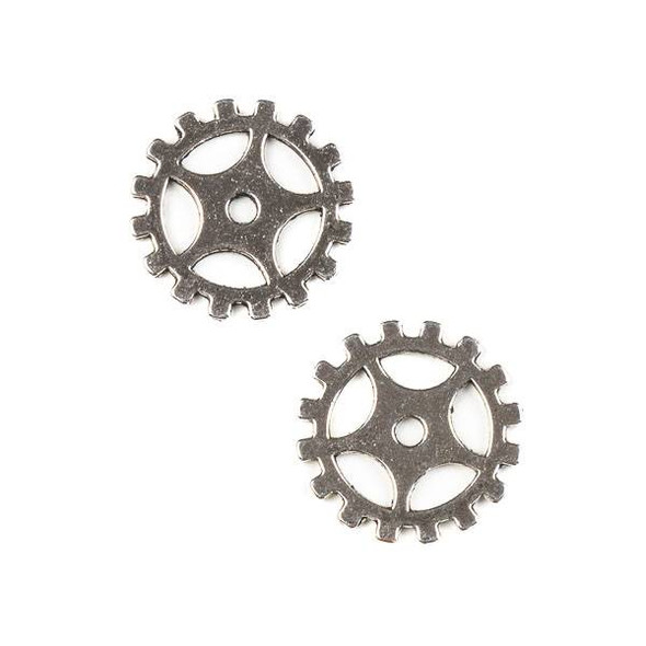 Silver Pewter 19mm Gear Charm (no loop) - 10 per bag