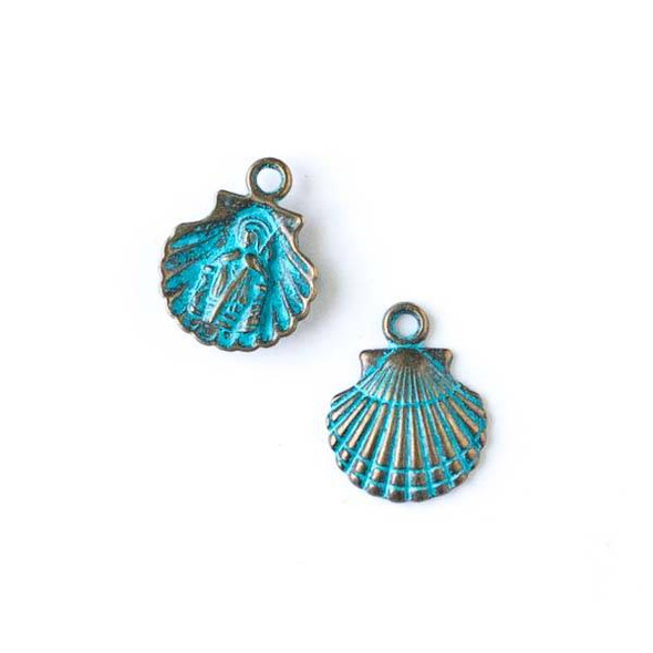 Green Bronze Colored Pewter 14x16mm Scallop Shell Charm with Religious Saint Engraved - 10 per bag