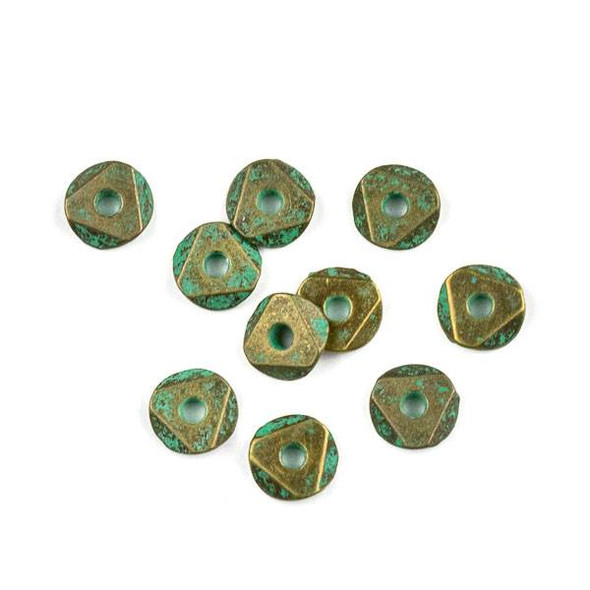Green Bronze Colored Pewter 2x6mm Faceted Heishi Beads - 10 per bag