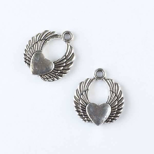 Silver Pewter 20x22mm Angel Wings Charm with Heart - 6 per bag
