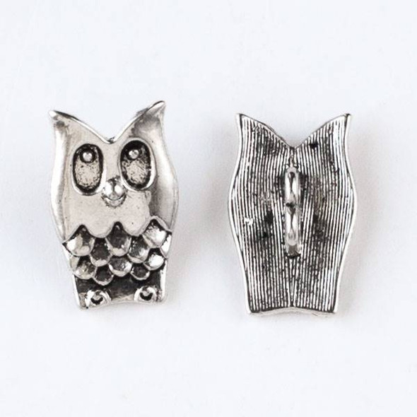 Silver Pewter 15x25 Owl Button - 10 per bag