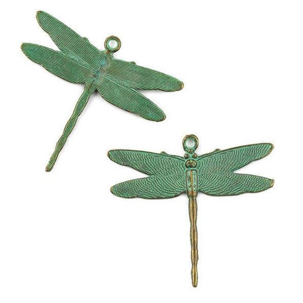 Green Bronze Colored Pewter 43x47mm Delicate Dragonfly Charm - 10 per bag