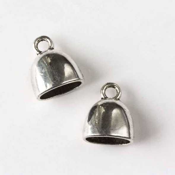 Silver Pewter 13x15mm Smooth Bell Leather Cord Ends with a 6x10mm Hole - 8 pieces per bag - CTB19625s