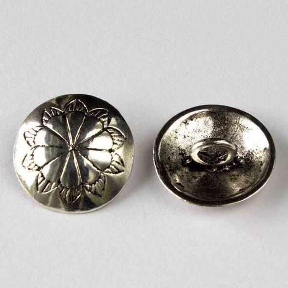Silver Pewter 18mm Round Button with a  Flower Design - 10 per bag