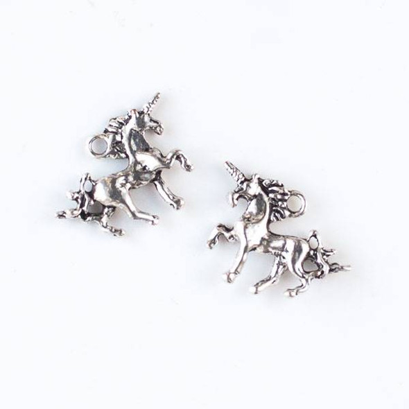Silver Pewter 15x21mm Unicorn Charm - 10 per bag