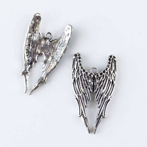 Silver Pewter 22x40mm Dark Angel Wing Pendant - 6 per bag