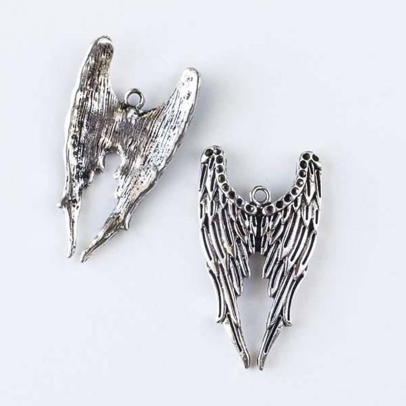 Silver Pewter 22x40mm Dark Angel Wing Pendant - 6 per bag
