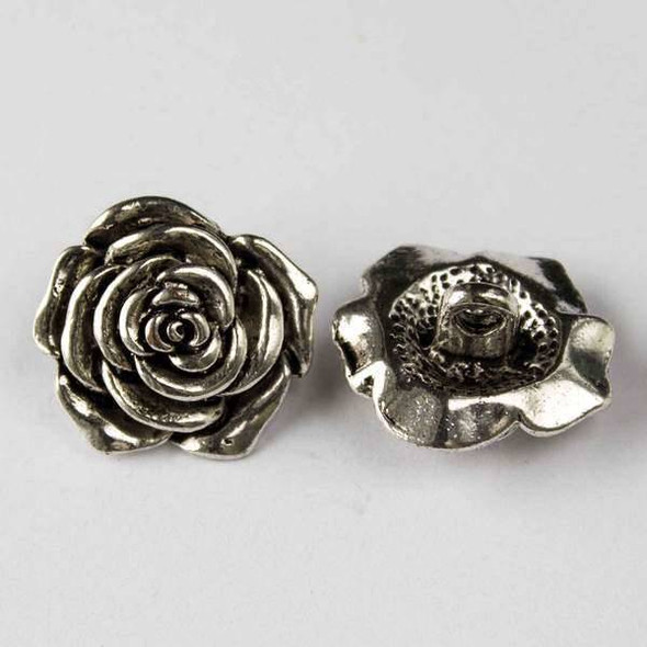 Silver Pewter 20mm Rose Button - 2 per bag