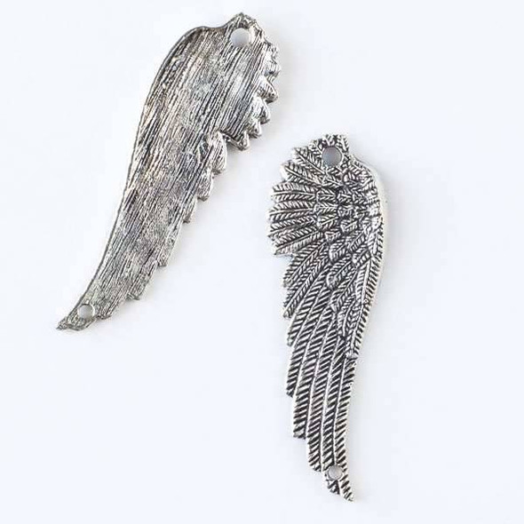 Silver Pewter 16x50mm Single Angel Wing Connector with 2 Holes - 6 per bag - CTB23176s