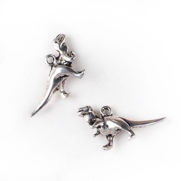 Silver Pewter 11x20mm Tyrannosaurus Rex Dinosaur Charm - 10 per bag