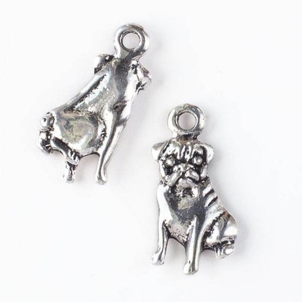Silver Pewter 15x28mm Bulldog Charm - 10 per bag