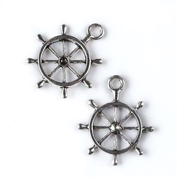 Silver Pewter 24x28mm Large Ship's Steering Wheel Charm - 8 per bag
