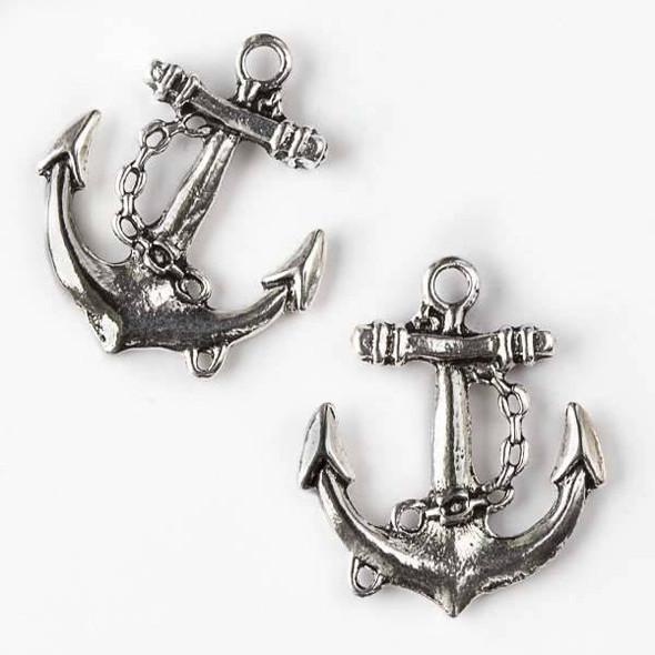 Silver Pewter 26x30mm Large Anchor with Chain Pendant - 6 per bag